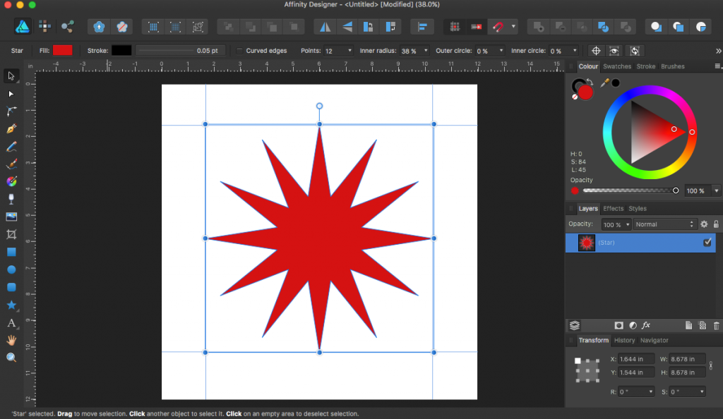Star shape tool in Affinity Designer